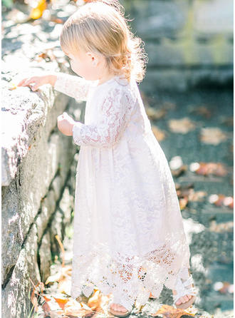 Lace Scoop Neck Baby Girl's Christening Gowns With Long Sleeves