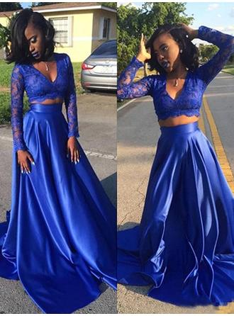 Stunning Satin Prom Dresses A-Line/Princess Sweep Train V-neck Long Sleeves