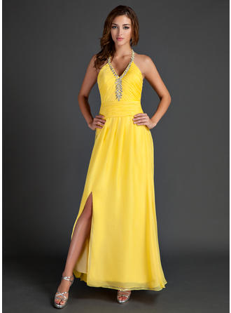 A-Line/Princess Halter Ankle-Length Chiffon Prom Dress With Ruffle Beading Split Front