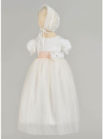Tulle Scoop Neck Lace Beading Baby Girl's Christening Gowns With Short Sleeves