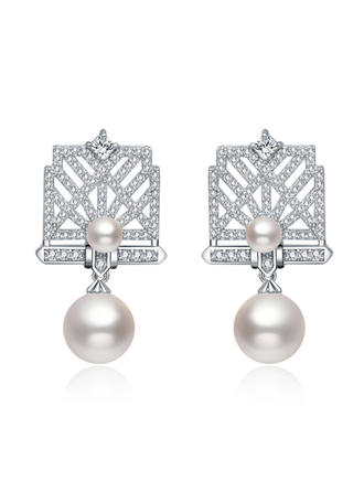 Earrings Copper/Zircon/Imitation Pearls/S925 Sliver Pierced Ladies' Romantic Wedding & Party Jewelry