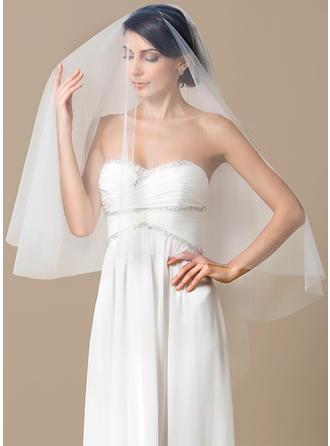 Walzer Braut Schleier Tüll Einschichtig mit Schnittkante 59.06 in (150cm) Brautschleier