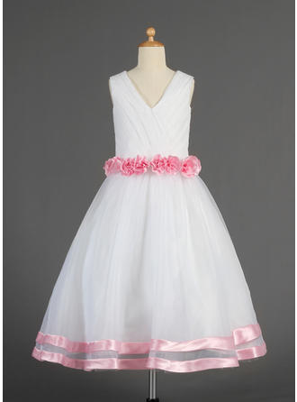 A-Line/Princess V-neck Tea-length With Flower(s) Organza/Satin Flower Girl Dress
