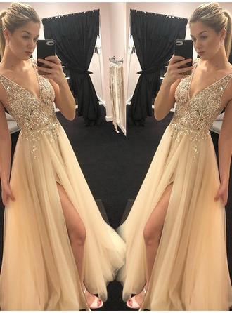 Magnificent Tulle Evening Dresses A-Line/Princess Floor-Length V-neck Sleeveless
