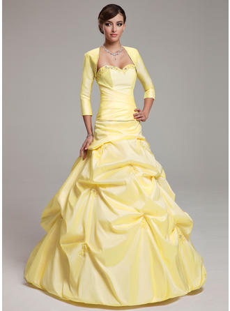 Simple Taffeta Prom Dresses Ball-Gown Floor-Length Sweetheart Sleeveless