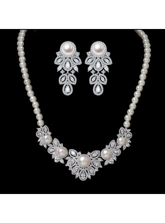 Jewelry Sets Pearl/Copper/Zircon Lobster Clasp Pierced Ladies' Wedding & Party Jewelry