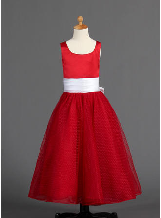 A-Line/Princess Scoop Neck Floor-length With Sash/Bow(s) Satin/Tulle Flower Girl Dress