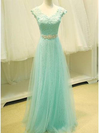 A-Line/Princess Tulle Delicate Floor-Length V-neck Sleeveless