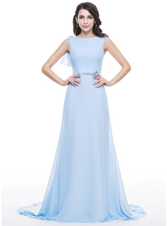 A-Line/Princess Scoop Neck Chiffon Sleeveless Court Train Lace Beading Sequins Cascading Ruffles Evening Dresses