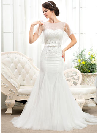 Fashion Court Train Trumpet/Mermaid Wedding Dresses Scoop Tulle Lace Short Sleeves