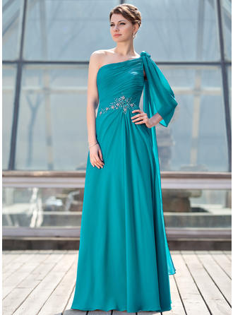 A-Line/Princess One-Shoulder Floor-Length Chiffon Mother of the Bride Dress With Ruffle Beading