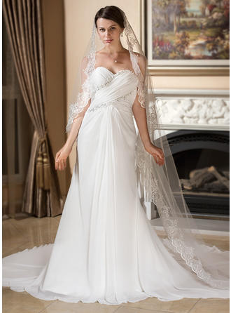 A-Line/Princess Watteau Train Wedding Dress With Ruffle Lace Beading