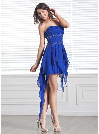 Chiffon Sleeveless A-Line/Princess Prom Dresses Strapless Beading Cascading Ruffles Asymmetrical