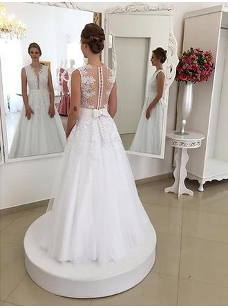 Trumpet/Mermaid V-neck Sweep Train Wedding Dress With Lace Sash Beading