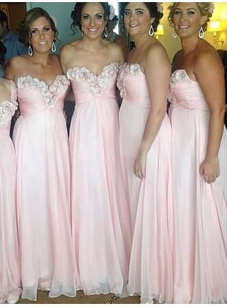 A-Line/Princess Chiffon Bridesmaid Dresses Ruffle Beading Flower(s) Sweetheart Sleeveless Floor-Length