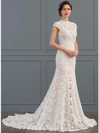 Trumpet/Mermaid High Neck Chapel Train Lace Wedding Dress