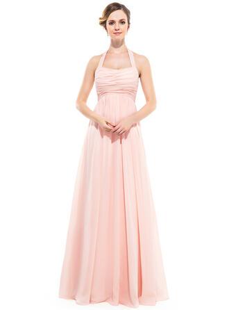 Empire Halter Floor-length Crinkle Chiffon Bridesmaid Dress