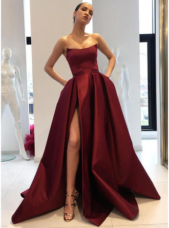 Satin Sleeveless Ball-Gown Prom Dresses Strapless Ruffle Split Front Sweep Train