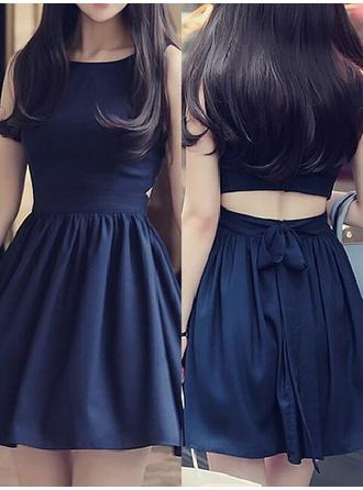 A-Line/Princess Scoop Neck Chiffon Short Sleeves Short/Mini Ruffle Sash Homecoming Dresses
