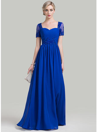 A-Line Sweetheart Floor-Length Chiffon Mother of the Bride Dress With Ruffle Beading Appliques Lace Sequins