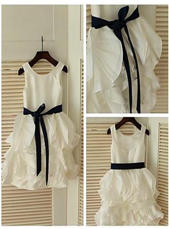 A-Line/Princess Scoop Neck Tea-length With Ruffles/Sash Chiffon/Satin Flower Girl Dresses