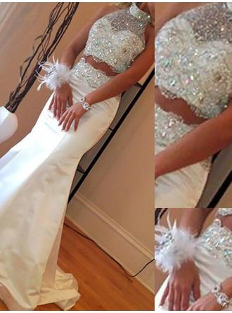 Trumpet/Mermaid High Neck Sweep Train Satin Prom Dress With Beading