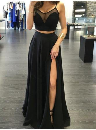 Glamorous Chiffon Evening Dresses Floor-Length A-Line/Princess Sleeveless Scoop Neck