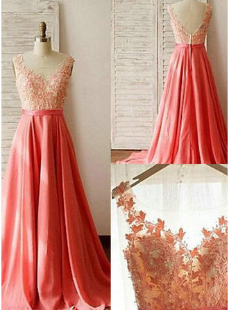 A-Line/Princess Scoop Neck Sweep Train Chiffon Lace Bridesmaid Dress With Beading (007144953)