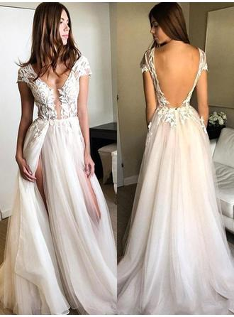 Tulle Sleeveless A-Line/Princess Prom Dresses V-neck Appliques Lace Split Front Floor-Length