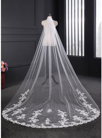 Cathedral Bridal Veils Tulle/Lace One-tier Classic With Lace Applique Edge Wedding Veils