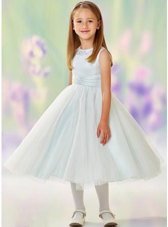 קו-A/נסיכה צווארון סקופ אורך-רצפה עם עבודת חריזות Satin/Tulle שמלה לילדות הטקס