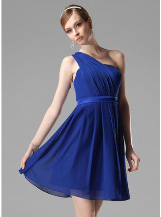 Chiffon Sleeveless A-Line/Princess Bridesmaid Dresses One-Shoulder Ruffle Short/Mini