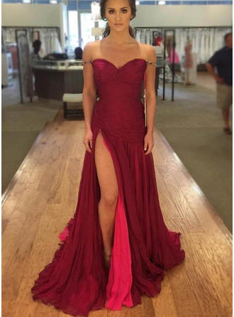 Chiffon Sleeveless A-Line/Princess Prom Dresses Off-the-Shoulder Split Front Floor-Length