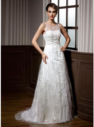 A-Line/Princess Sweep Train Wedding Dress With Beading