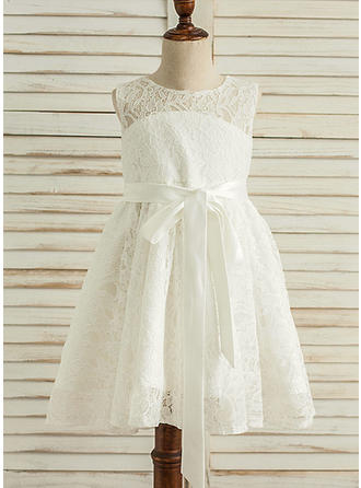 A-Line/Princess Knee-length Flower Girl Dress - Satin/Lace Sleeveless Scoop Neck With Lace/Bow(s)/Back Hole