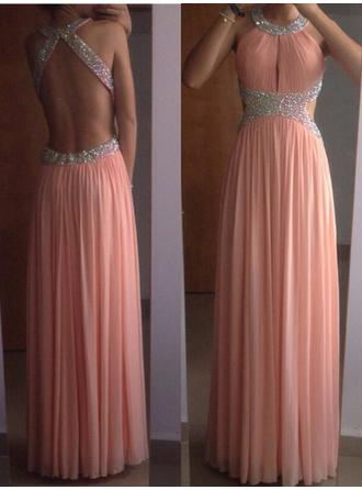 A-Line/Princess Prom Dresses Luxurious Floor-Length Scoop Neck Sleeveless