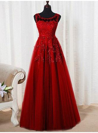 Tulle Scoop Neck A-Line/Princess Luxurious Prom Dresses