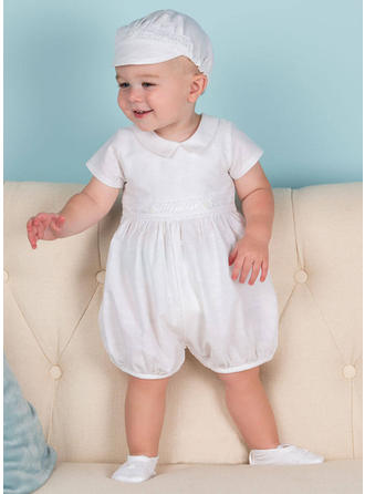 Satin Peter Pan Collar Baby Boy's Christening Outfits With 1/2 Sleeves