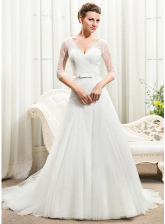 A-Line/Princess V-neck Cathedral Train Tulle Lace Wedding Dress With Bow(s)