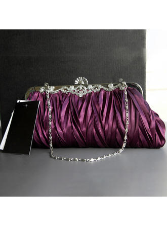 Clutches Wedding/Ceremony & Party Silk Clip Closure Elegant Clutches & Evening Bags