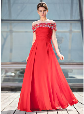 A-Linie/Princess-Linie Off-the-Schulter Chiffon Ärmellos Bodenlang Rüschen Perlstickerei Pailletten Kleider für die Brautmutter