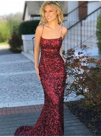 Sequined Sleeveless Trumpet/Mermaid Prom Dresses Square Neckline Sweep Train