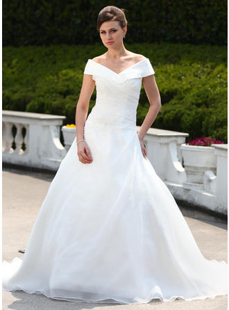 Ball-Gown Court Train Wedding Dress With Ruffle Beading