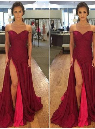 A-Line/Princess Chiffon Prom Dresses Split Front Off-the-Shoulder Sleeveless Floor-Length