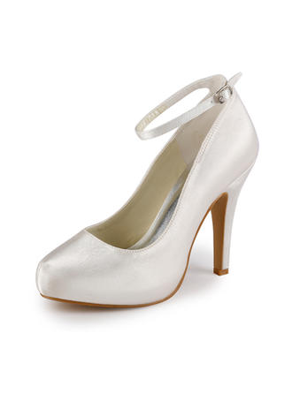 Women's Closed Toe Pumps Cone Heel Satin With Buckle Wedding Shoes