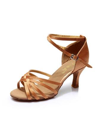 Frauen Latin Heels Sandalen Satin mit Knöchelriemen Tanzschuhe