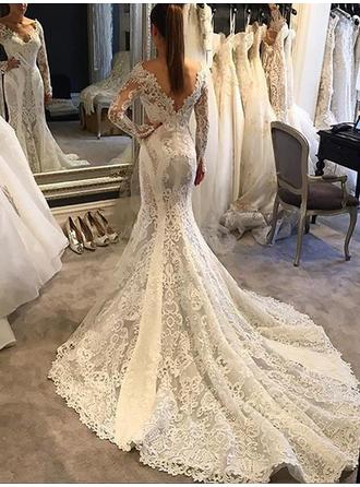 Stunning Chapel Train Trumpet/Mermaid Wedding Dresses V-neck Lace Long Sleeves