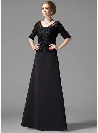 A-Line/Princess Satin 1/2 Sleeves V-neck Floor-Length Zipper Up Mother of the Bride Dresses