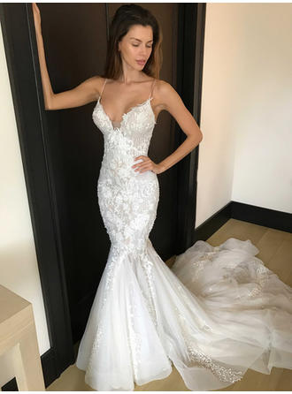 Sexy Chapel Train Trumpet/Mermaid Wedding Dresses Deep V Neck Tulle Lace Sleeveless (002144906)