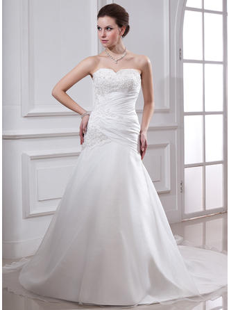 A-Line/Princess Chapel Train Wedding Dress With Ruffle Lace Beading